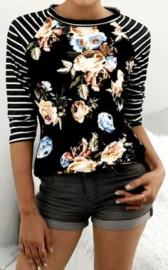 $23.99 Chicnico Fashion Round Neckline Striped Little Floral Print Top