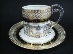 Sterling Silver & Aynsley China Coffee Can & Saucer 1930