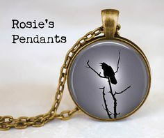Raven in Moonlight Silhouette  Fall Trends  by RosiesPendants