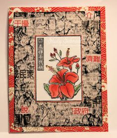 lovely handmade card ... Asian theme ... Chinese newspaper used in the background ...