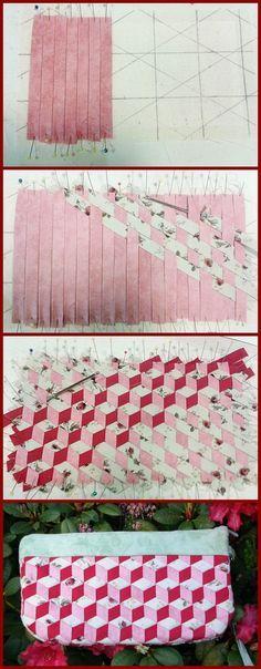 Schrägbändern gewebtes Täschchen