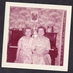 Old Vintage Photograph Two Women in Flowered Dresses By Piano Retro Wallpaper