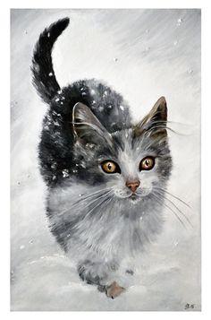 Kitten in snow by jankolas on DeviantArt