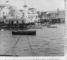 Harbor of Canea, Crete, showing the British flag and Consulate Old Images, Old Photos, Vintage Photographs, Vintage Photos, Tree Identification, Crete Island, Still Picture, Simple Photo, Crete Greece