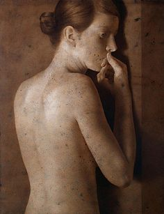 Waiting by Michael Lukasiewicz, Figurative Painting, Acrylic (Michael was born in Poland but has been living and working in Antwerp for over 15 years.)