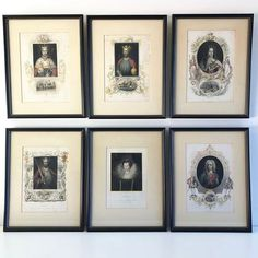 A striking set of six, early century hand coloured lithographs of various Kings and Queens of England. All have their King or Queens name beneath. The Queen in this. Vintage Black, Vintage Art, Queen Of England, One And Other, King Queen, Hand Coloring, Wooden Frames, 19th Century, Compliments