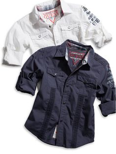 GUESS Kids Boys Boys Shirt with Microcord, WHITE (12/14)
