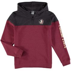 Florida State Seminoles Colosseum Youth Fleece Quarter-Zip Hoodie - Heathered Garnet/Charcoal