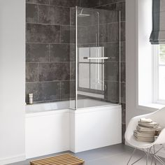 The - L-Shaped Bath with Screen, Rail & Side Panel - Right Hand (Excludes end panel), right hand is clean and minimalistic it provides a spacious shower with no need for a separate enclosure. 10 year Guarantee Includes Front Panel Right ha L Shaped Bathroom, New Bathroom Ideas, Shower, House, Bathrooms, Bathtubs, Taps, Delivery, Dreams