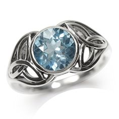 241ct Genuine Blue Topaz 925 Sterling Silver Triquetra Celtic Knot Ring Size 10 >>> Check out this .