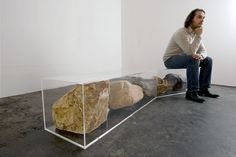 Untitled bench, 2009, 50 x 224 x 60 cm, perspex, golden quarzite, mixed glacier, purple slate, granite, purfleet, fixings