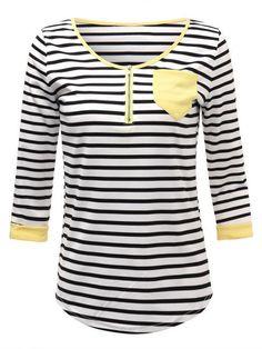 Women Half Sleeve V Neck Zipper Stripe Pocket Slim Casual T-shirt