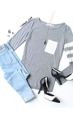 Contrast Pocket Striped T-Shirt