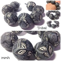 Tribal Orbs Handmade Polymer Clay Bead Set by rosebud101 on Etsy