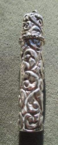 Antique-Sterling-Silver-Fancy-Repousse-Sewing-Needle-Case-Holder-Chatelaine-Kit