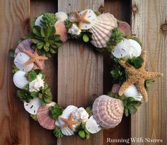 Succulents Wreath Seashells & Succulents Wreath Craft How To - make your own trendy shell and succulent wreath with this tutorial!Seashells & Succulents Wreath Craft How To - make your own trendy shell and succulent wreath with this tutorial! Coastal Wreath, Seashell Wreath, Seashell Art, Seashell Crafts, Beach Crafts, Crafts With Seashells, Summer Crafts, Kid Crafts, Decor Crafts