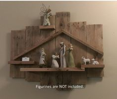 Reclaimed wood Nativity backdrop wall hanging by TimsWoodenCrafts