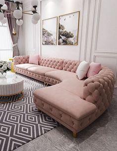 Tufted Sectional Sofa, Tufted Leather Sofa, Leather Sofa Set, Upholstered Sofa, Couches, Velvet Sofa Set, Velvet Tufted Sofa, Glam Living Room, Living Room Sofa