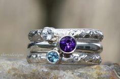 Birthstone Stacking Ring set of 3 Stacking Family by sherisdesigns, $125.00