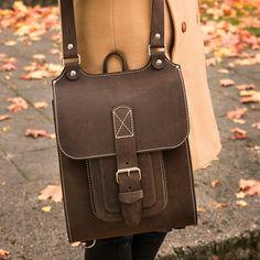"Leather backpack/messenger bag for  13"" laptop. Handmade of hard ans stiff leather. Find out more inbagwetrust.com"