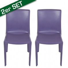 "$170 Chair ""Alex"" purple set of 2  Looking for a chair that has a simple form and is still not 0-8-15? How about this one? The chair is made of synthetic leather in fresh green, seductive purple, cheerful turquoise, classic black and elegant white.    Ref:. MHF0001169"