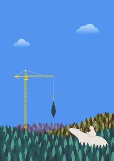 #bear #polarbear #construct #forest #tree #nature #environment #protect #illust #illustration #greenpeace #wwf #북극곰 #자연 #환경보호 #숲 #멸종위기종 #일러스트 Destruction, Wind Turbine, Habitats, Wildlife, Illustration, Island, Digital, House, Home