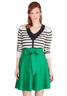 Musee Matisse Skirt in Green. On your trip, you want to leave an impression! #green #modcloth