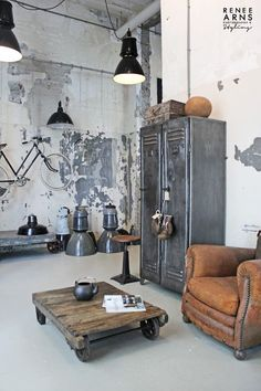 Industrial + Antique Mix | Vintage Leather Club Chair | Industrial Metal Lockers