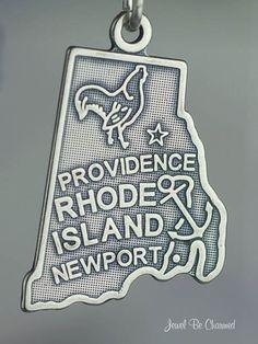 Rhode Island Charm Sterling Silver State America USA