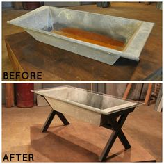 An animal trough works perfectly as a buffet table when topped with glass and given legs.