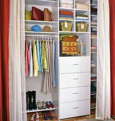 Curtains for closet doors Closet Curtains, Closet Bedroom, Closet Doors, Master Bedroom, Closet Storage, Closet Organization, Front Hall Closet, Ideas Armario, Organizar Closet