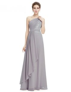 Elegant Gray One Shoulder Bridesmaid Dress