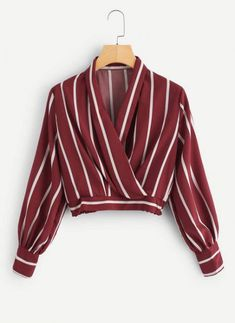 Striped Crop Surplice Top - Romwe Striped Crop Surplice Top Source by - Girls Fashion Clothes, Teen Fashion Outfits, Look Fashion, Fashion Dresses, Crop Top Outfits, Cute Casual Outfits, Stylish Outfits, Shirts & Tops, Shirt Blouses