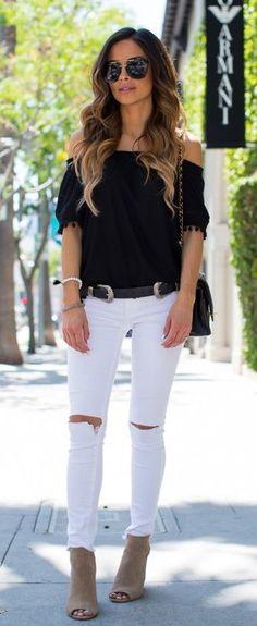 #spring #outfits / Black Off Shoulder Blouse / Destroyed Skinny Jeans / Beige Open Toe Booties