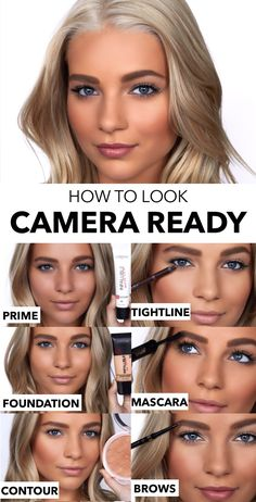 Want to look good on camera? Here, find photo makeup, hair, and skin tips for a camera-ready beauty look that will have your selfie game on point. All Things Beauty, Beauty Make Up, Hair Beauty, Bronzer, Concealer, Beauty Secrets, Beauty Hacks, Beauty Tips, Eye Makeup