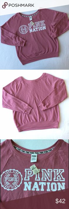 PINK NATION Sweatshirt 👇PLZ READ THE COMPLETE DESCRIPTION BEFORE COMMENTING! Thank u!👇  Brand new with tag Retail: $44.95 Size: M Color may be slightly  different bcz of lighting  🌷Price is FIRM unless bundled 🌷NO Trades         🌷NO Holds       🌷All sales are final Welcome product-related questions! You are responsible for your size. PINK Victoria's Secret Tops Sweatshirts & Hoodies