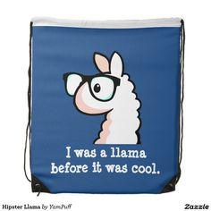 Hipster Llama Drawstring Bag