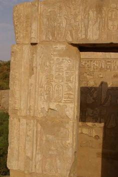 Karnak, Chapel of Kushite king Taharqa (690-664BC) and Shepenupet II: Detail of the facade. 25th dynasty, Kushite Ethiopian rule, Egypt.
