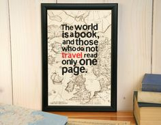 Custom quote print framed vintage map print wall by BoldOnPaper