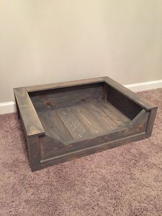 Wooden Dog Bed Rustic Stain Small