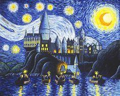 Art Print Harry Potter Hogwarts Starry Night Artwork Vincent Van Gogh | Home & Garden, Home Décor, Posters & Prints | eBay!
