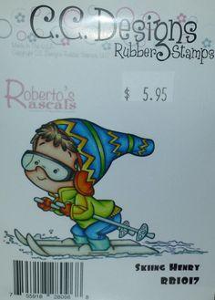 RB1017 C.C. Designs Unmounted Rubber Stamp Roberto's Rascals Skiing Henry