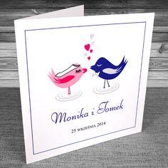 Zaproszenia ślubne z ptaszkami proste - Zakochane ptaszki 4