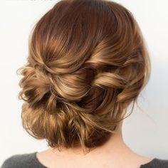 Low curly updo. Hair color by @hairbymandielynn using #pravana #hairandmakeupbysteph