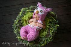 Baby Girls Owl Hat & Pants SET Fuzzy Pink Newborn 0 3m Photo Prop Crochet Baby Girls Clothes Super Soft CUTE Halloween Costume/ Etsy.com