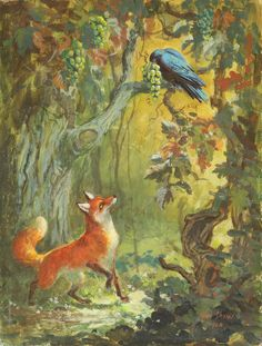 """Mel Shaw painting, """"The Fox and the Grapes, Aesop Fable,"""" 1966. (Image: Courtesy Rick and Janet Shaw and Melissa Couch, © Mel Shaw Studios.)"""