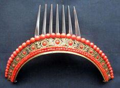 Tres grand diademe, 19 ième empire coral vermeil, comb, tiara, peineta   Art, antiquités, Objets du XIXe et avant   eBay!