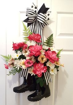 A Spring boot wreath for your front door. by marlas