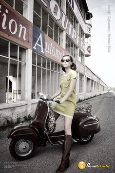 dark burgundy Vespa and leopard print seat, girl in a modern mod 60's style…