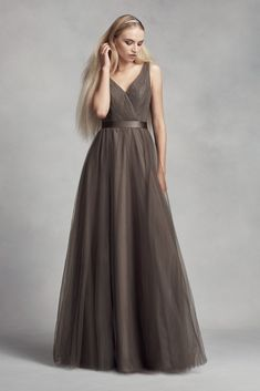 Fantastic Long A-line Tulle Surplice Bridesmaid Dress with Lace Back Style VW360322